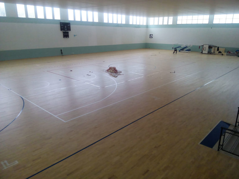 The sicilian sports floor is made to play basketball, volleyball and futsal