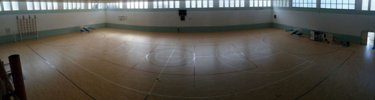 The last phases of intallation of the Dalla Riva Sportfloors sports parquet in PalaCardella in Erice