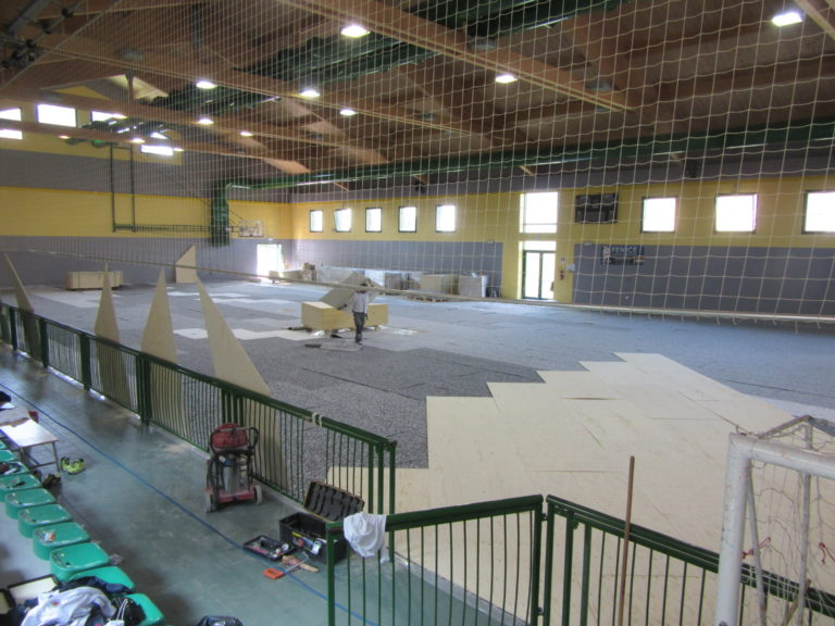Start of laying new sports parquet Dalla Riva at the gym in Mestre hosting the Fenice Futsal