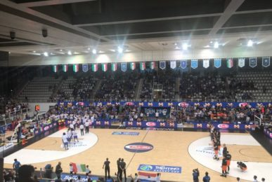 An image of the inauguration evening at PalaTrento with the match between the nationals of Italy and Holland