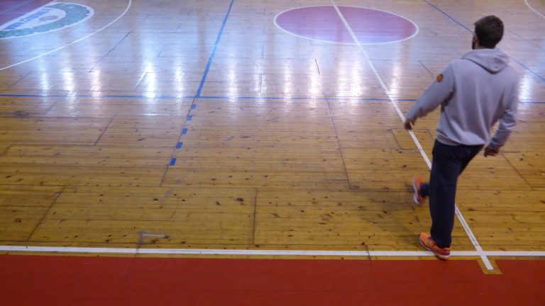 "The parquet of the ""Spettacolo"" gym in Cremona before the intervention of Dalla Riva"