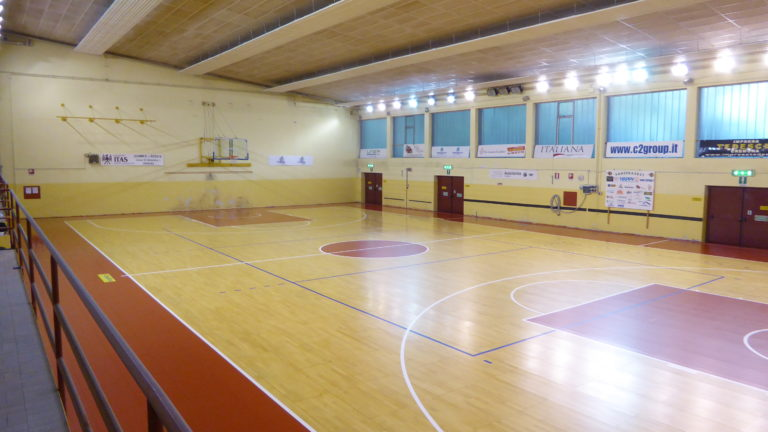 "The ""Spettacolo"" gym with new portable floor DR will be used by about 400 young basketball players"