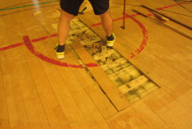 Steps to repair a hockey parquet carefully carried out by a Dalla Riva technician