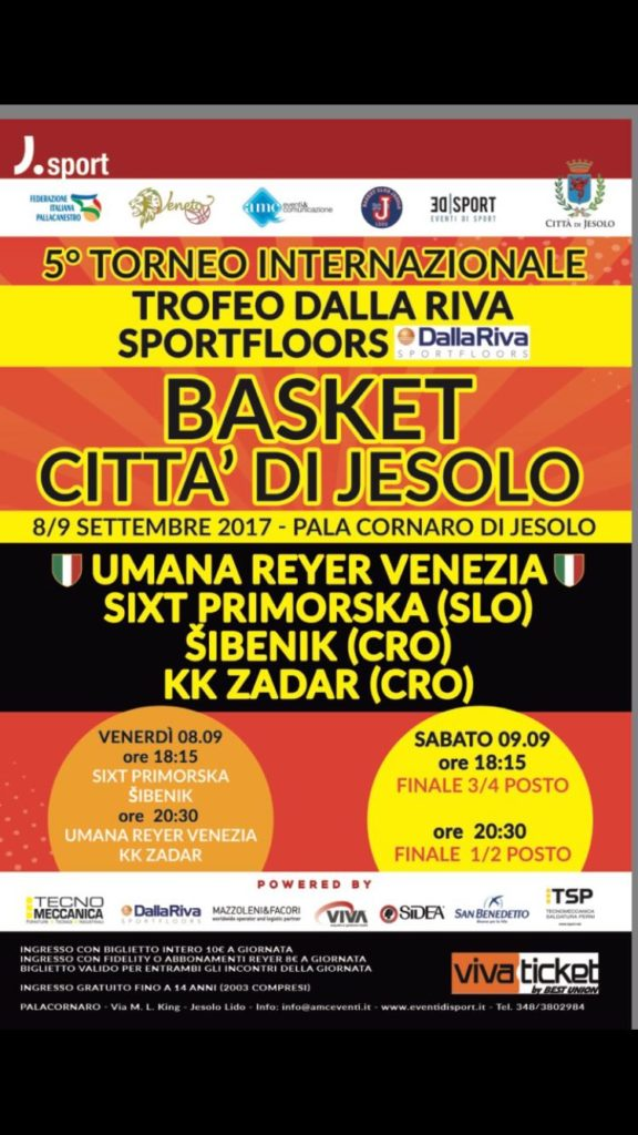 International Basketball Tournament in Jesolo Veneziaon sports flooring parquet Dalla Riva