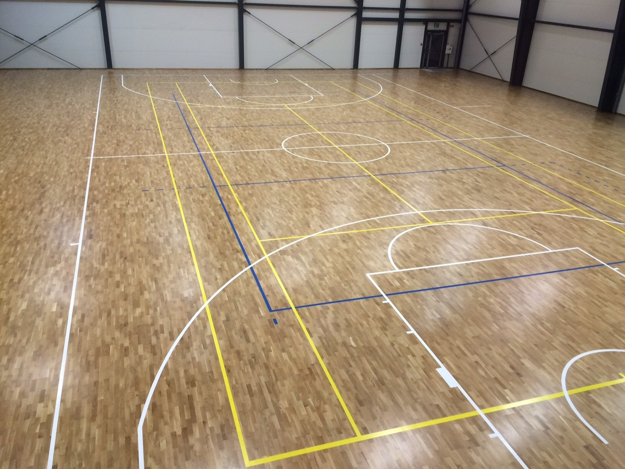 The oak sports parquet for the gym in Klaipeda, Lithuania