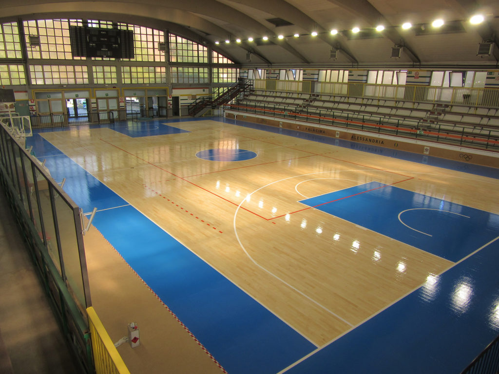 Parquet flooring work done in the sports hall in Alessandria (Piedmont)