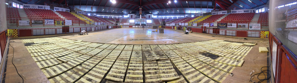 A panoramic view of the old sports floor of the Sports Hall