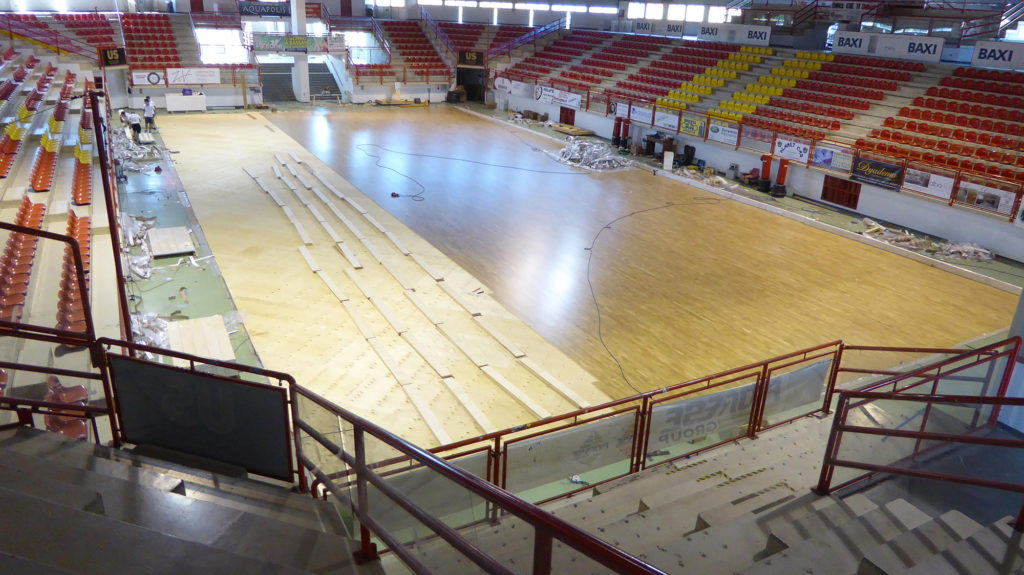 Stages of laying the new oak sports parquet