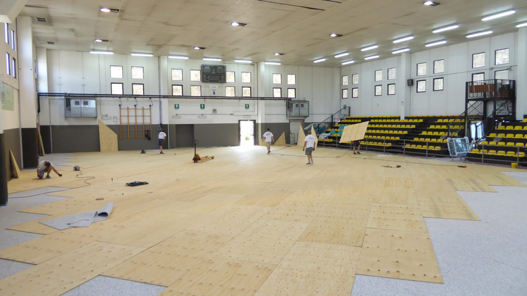 The installation of the FIBA approved elastic substructure
