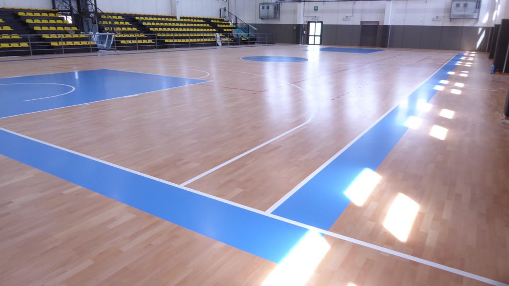The splendid FIBA flooring marked Dalla Riva