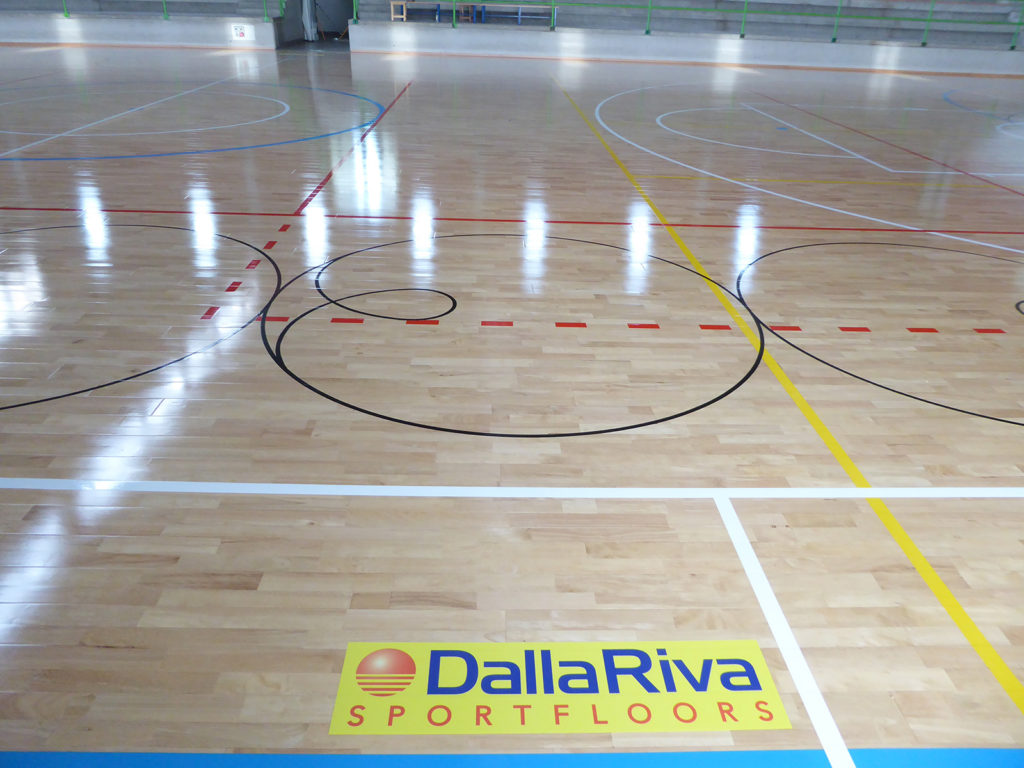 The flooring treated with skating paint, used on 80% of Dalla Riva Sportfloors interventions