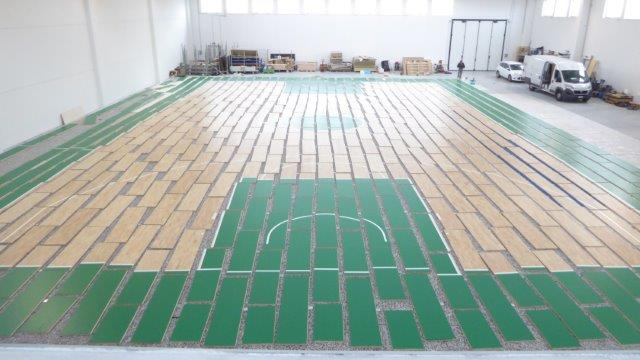 Removable parquet Dalla Riva ready to be transported and installed at the Mandela Forum in Florence