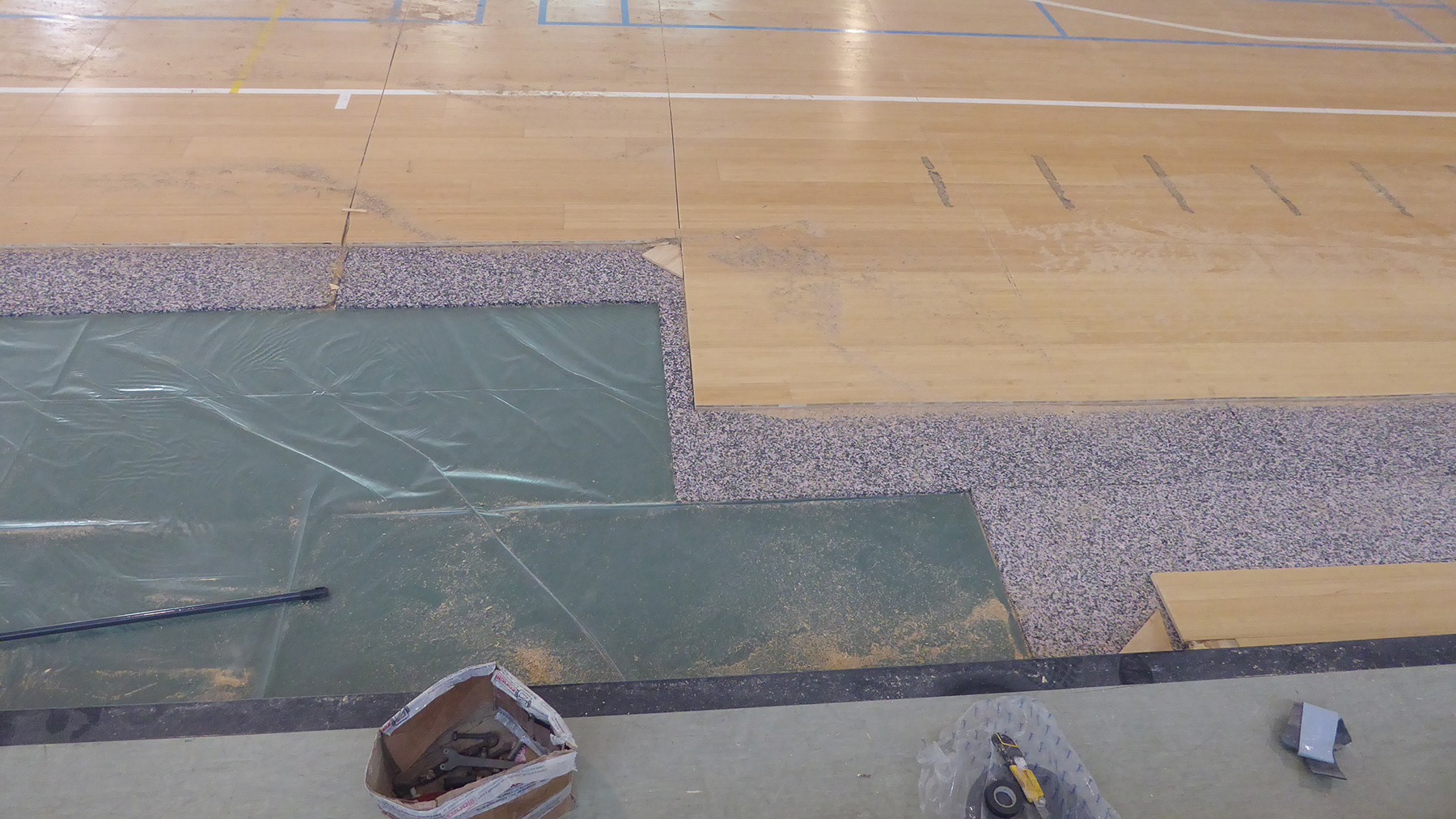 The removal of the flooring