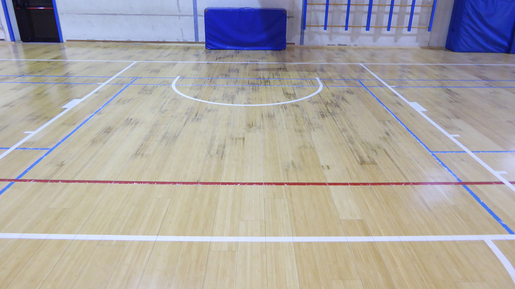 The parquet is wet but intact
