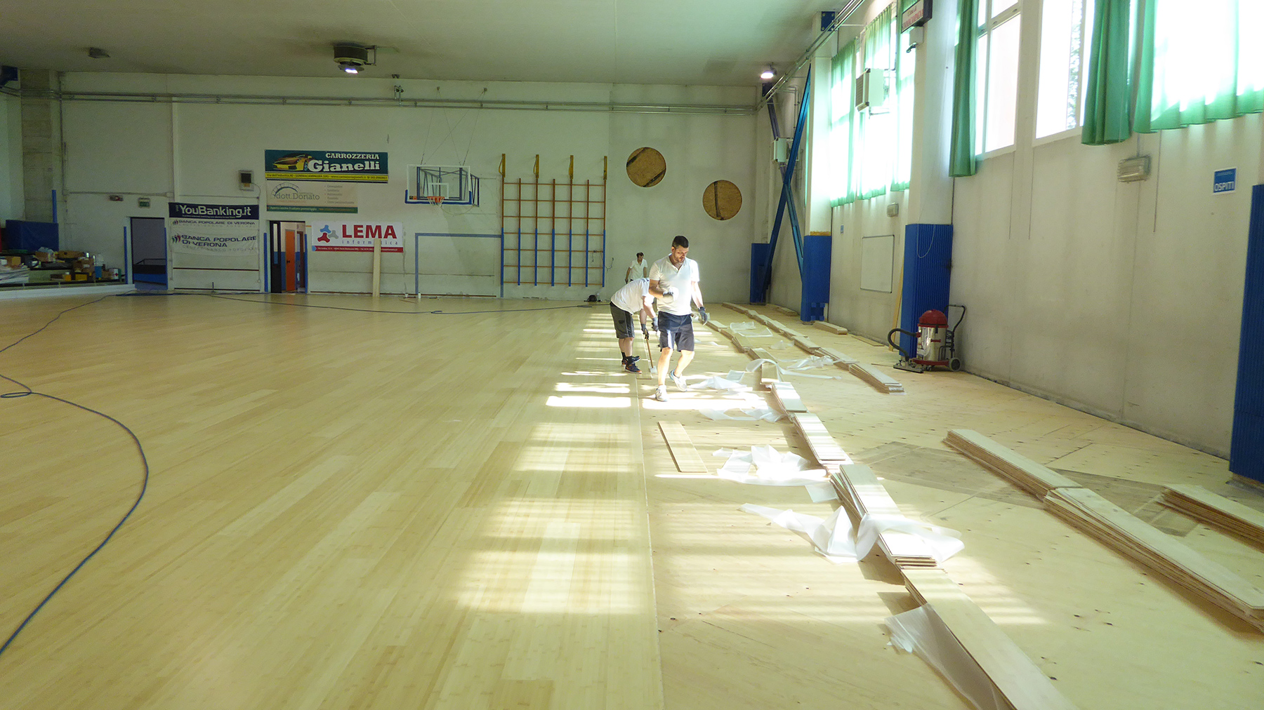The laying of the new flooring