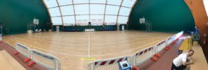 Tensile structure with new FIBA approved sports parquet