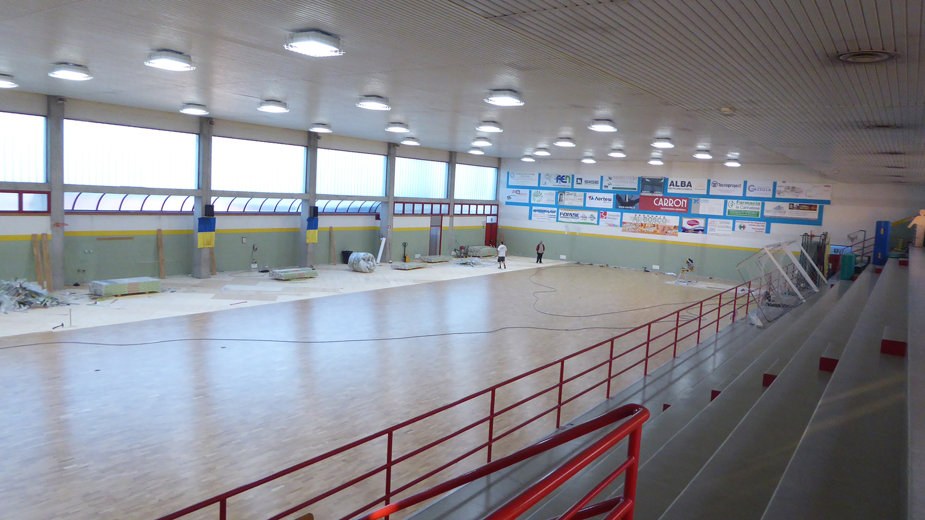More than half installed flooring, the gym changes face