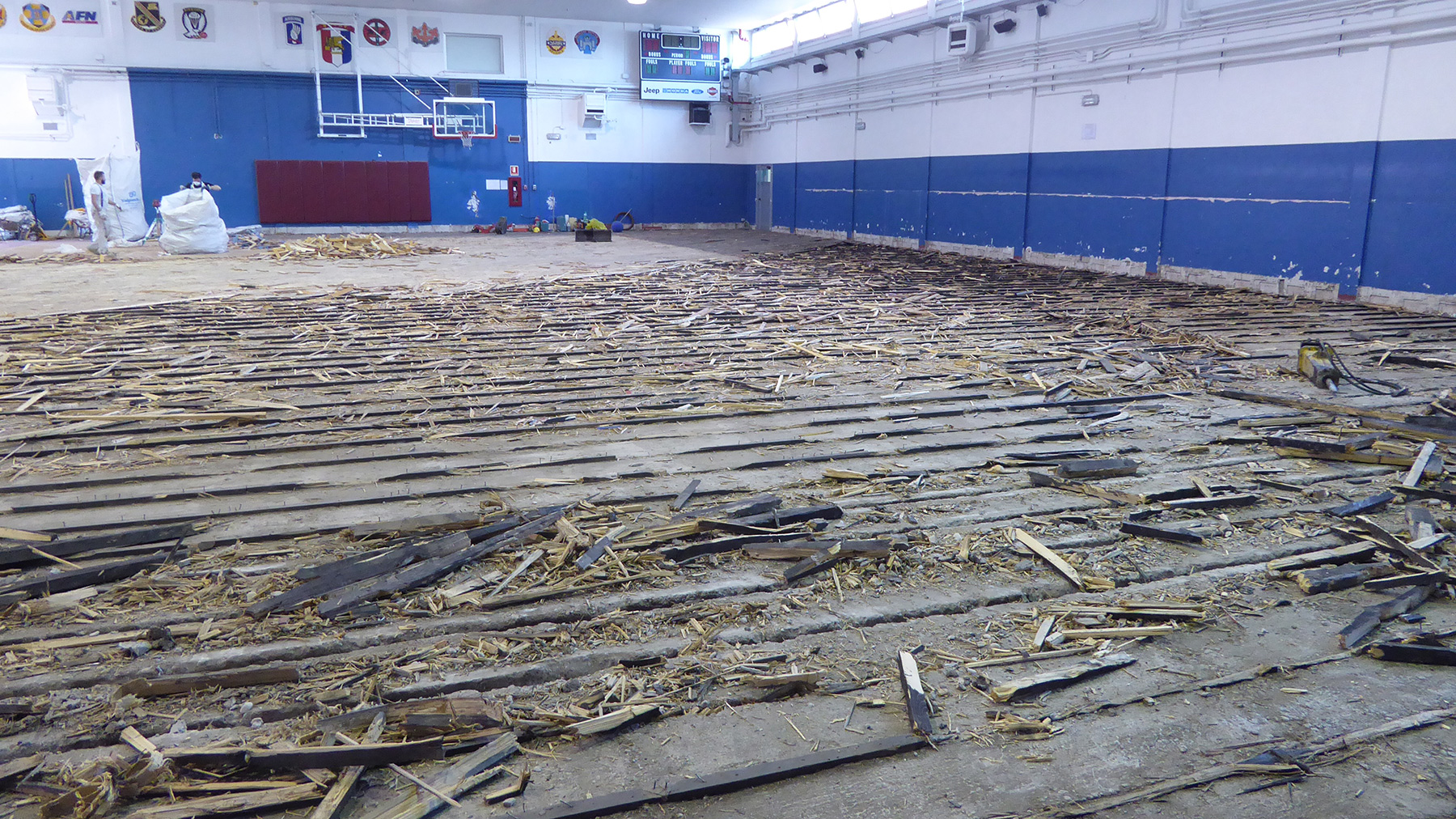 The old and worn flooring