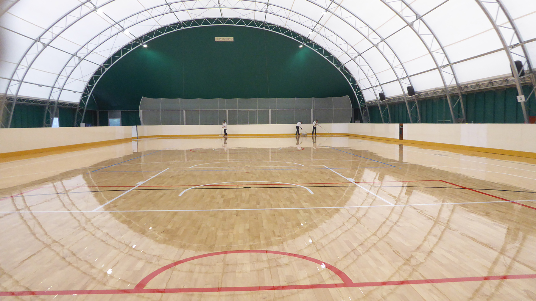 The sports flooring completed