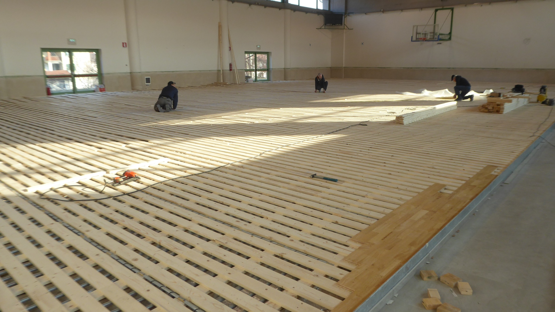 Installation of sports parquet