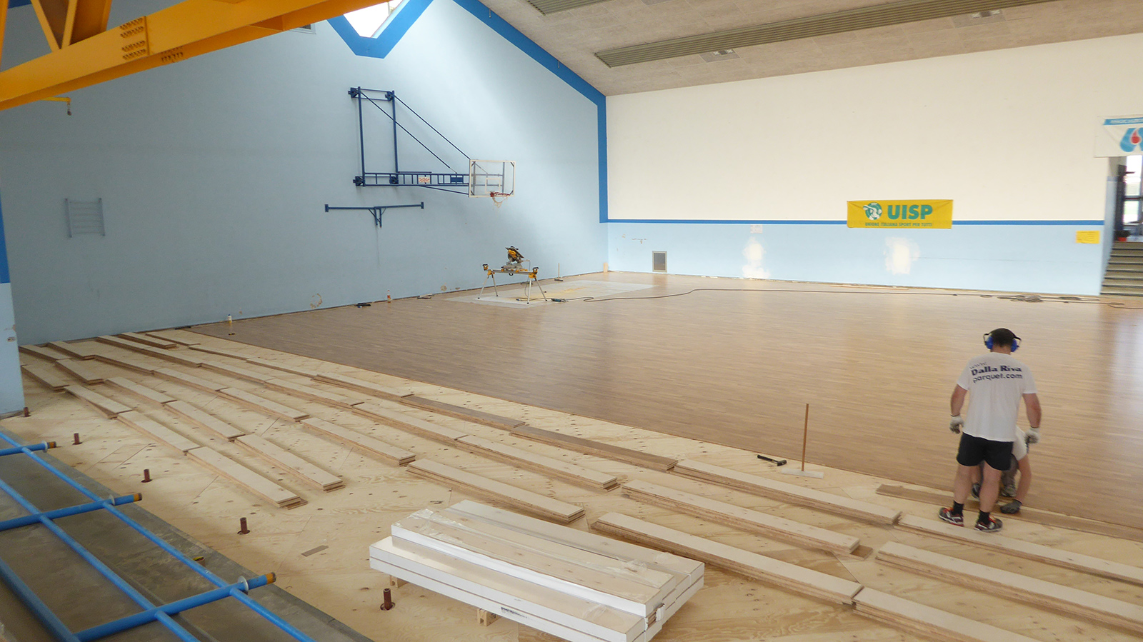 Our technicians during the installation of the new parquet