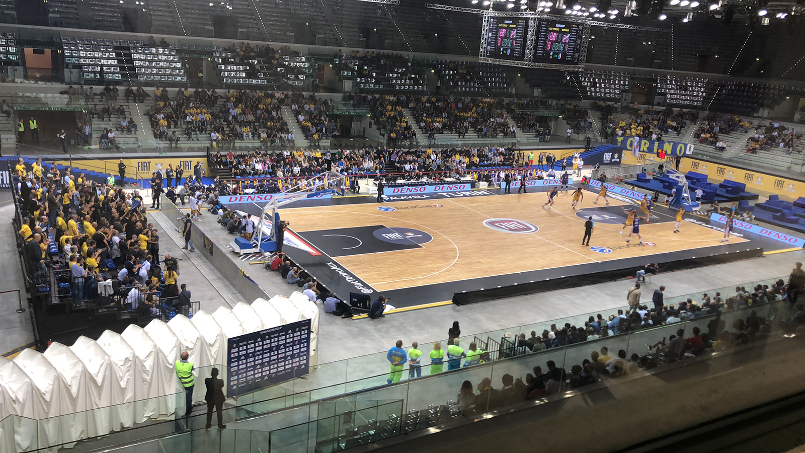 A game action between Auxilium Torino and Mornar Bar in EuroCup