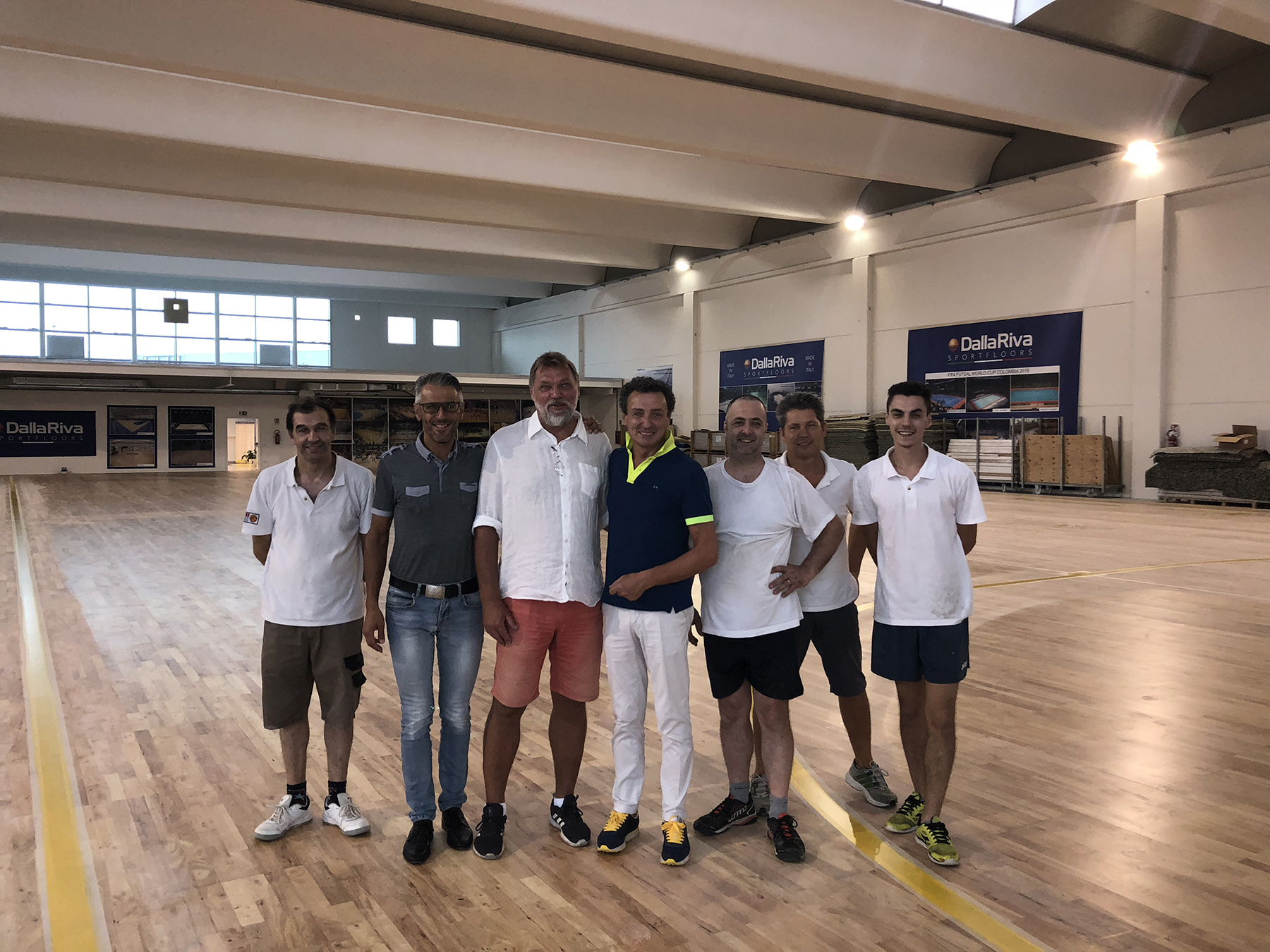 The Dalla Riva team with the manager of the Swedish 5-a-side Football Federation
