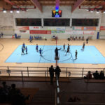 For the men's volleyball B series an exceptional parquet