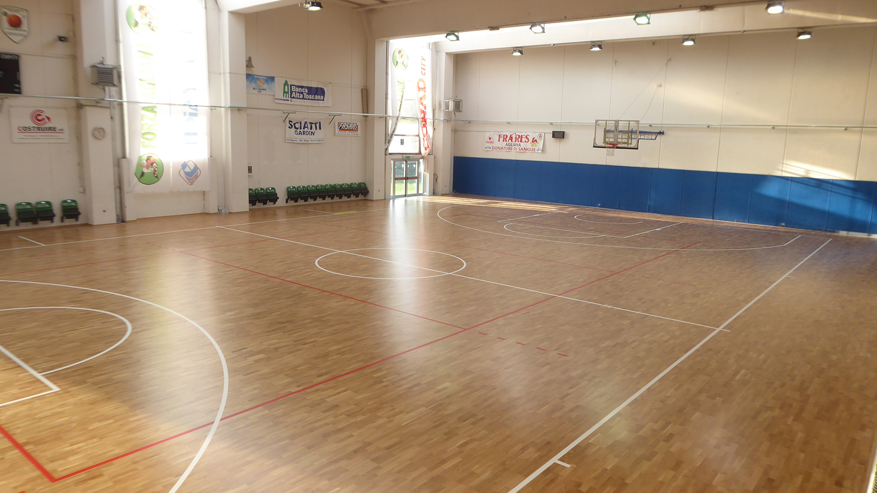 The new FIBA approved flooring for the Agliana Basket