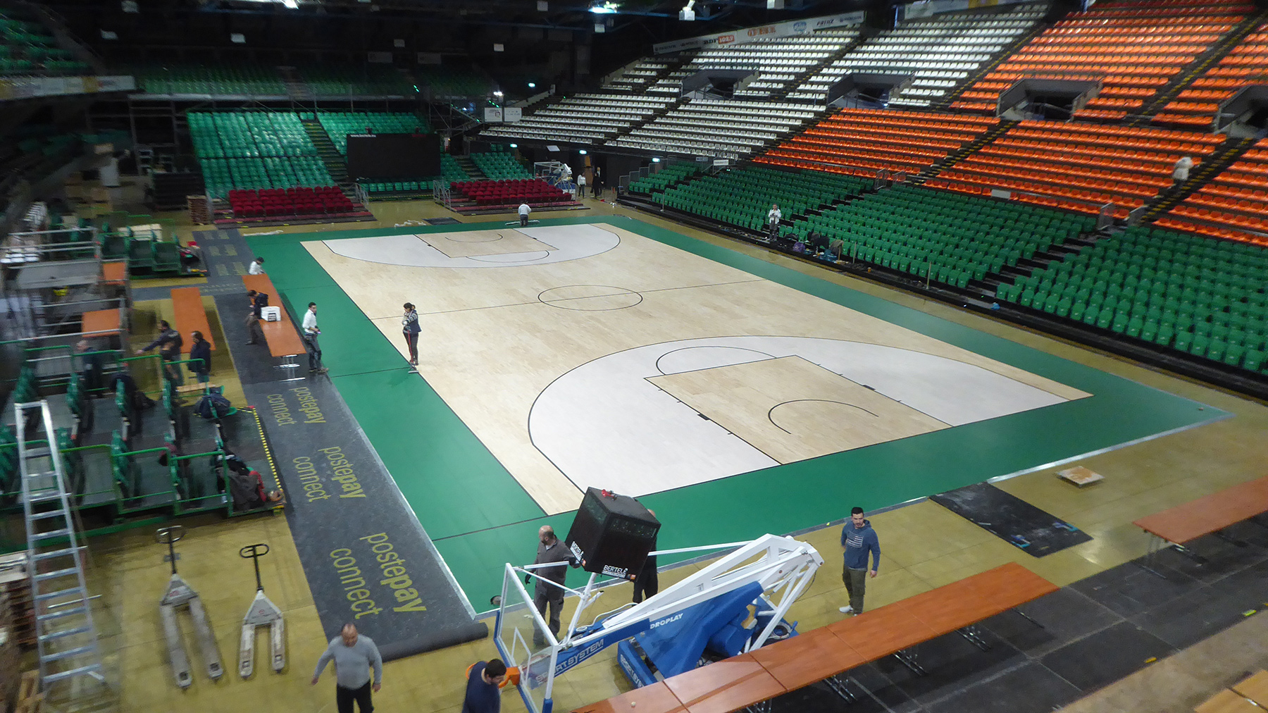 A view from above of the flooring installed at the Mandela Forum