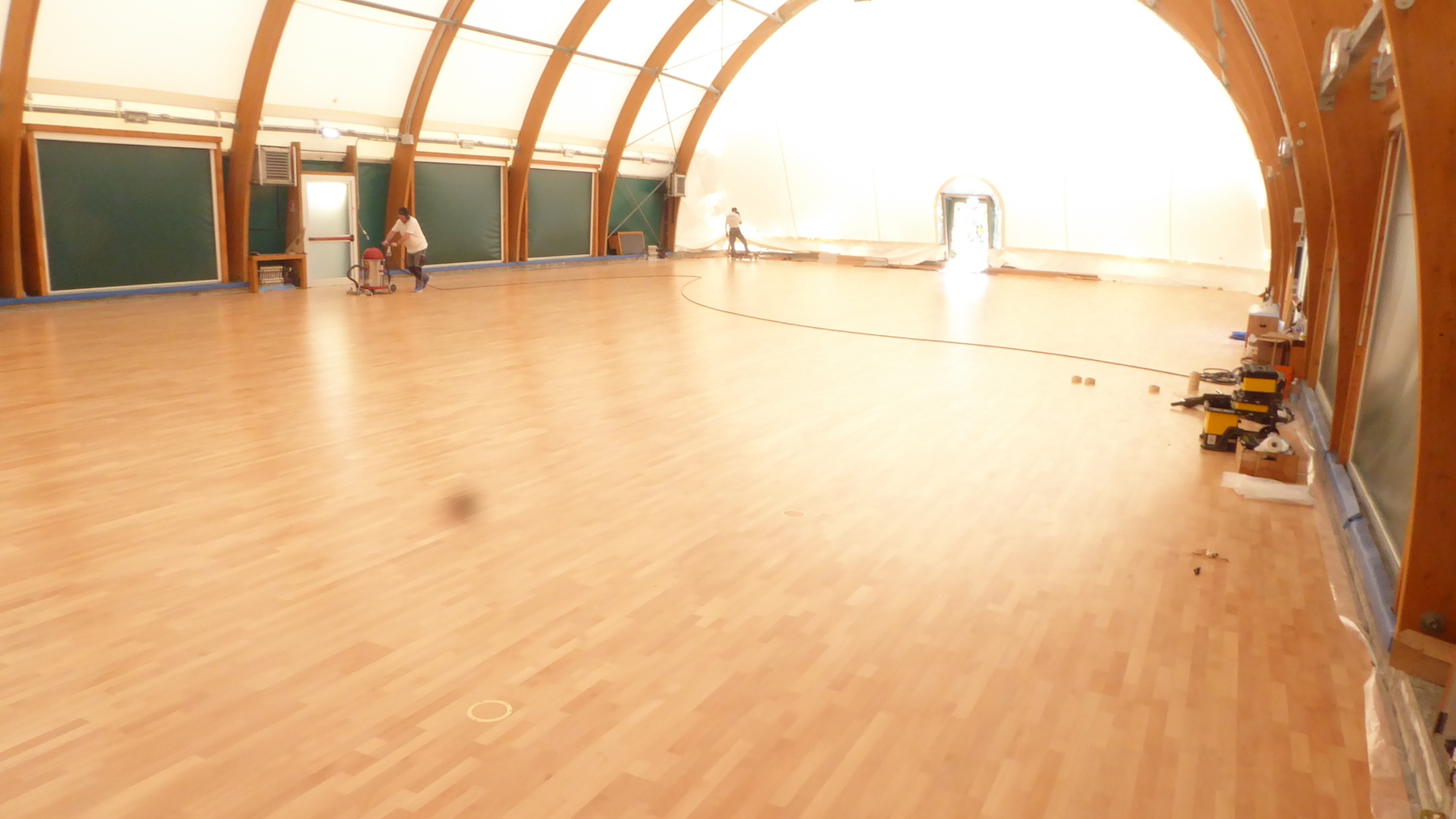 The installation of the sports parquet is complete