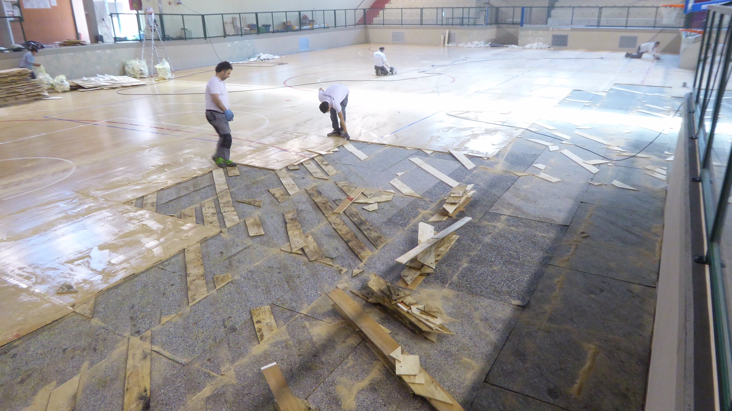 The operations of removing the old flooring