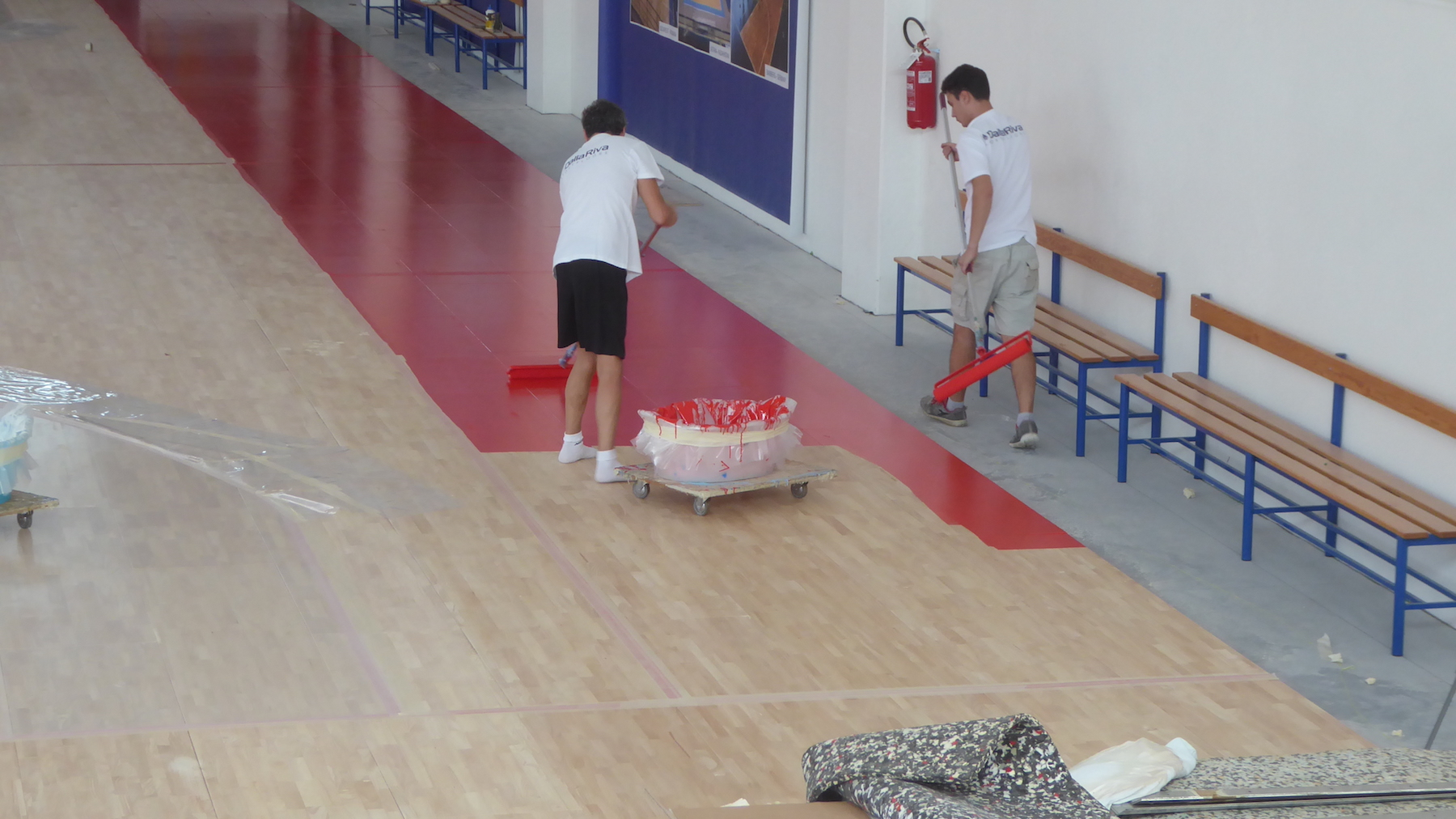 Our technicians engaged with the bright red color of the side bands