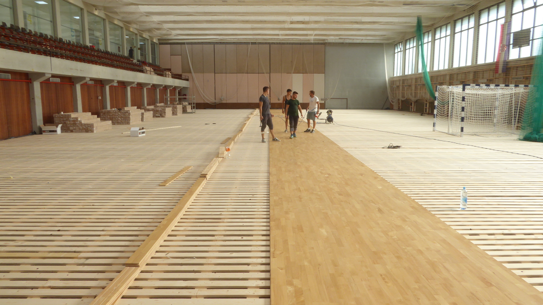 Laying of sports parquet