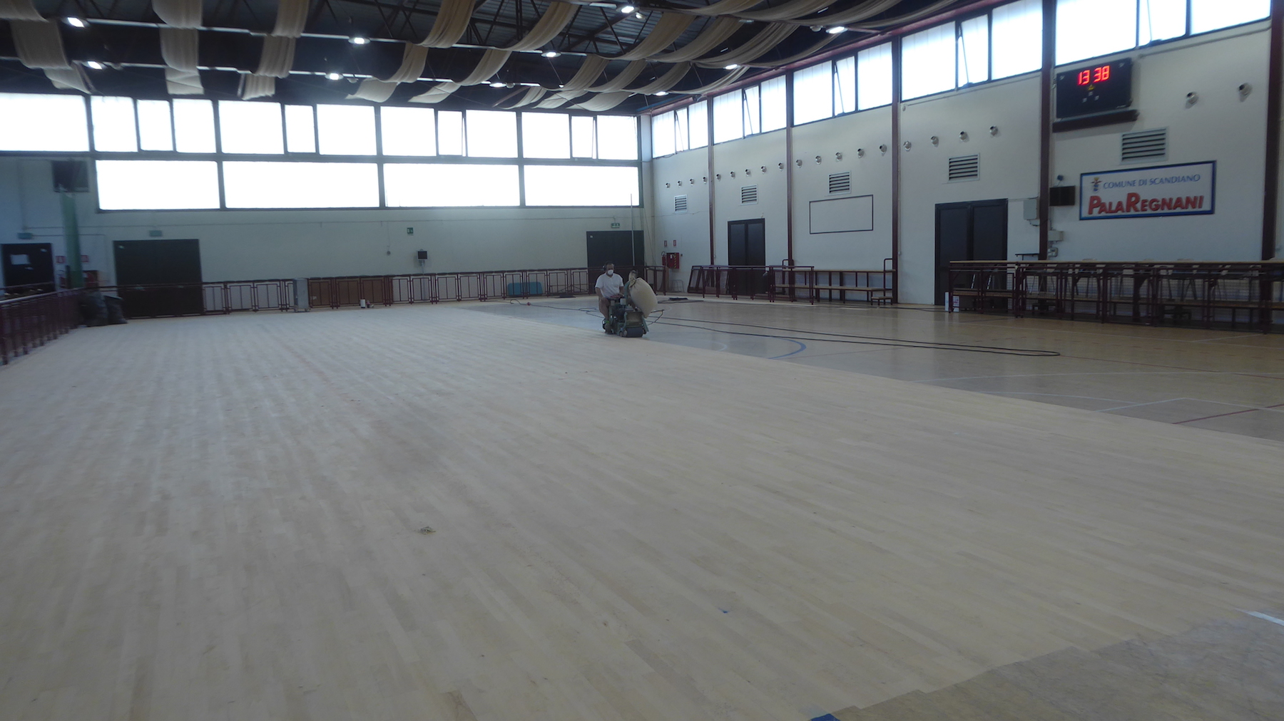 The various repairs carried out on the sports flooring
