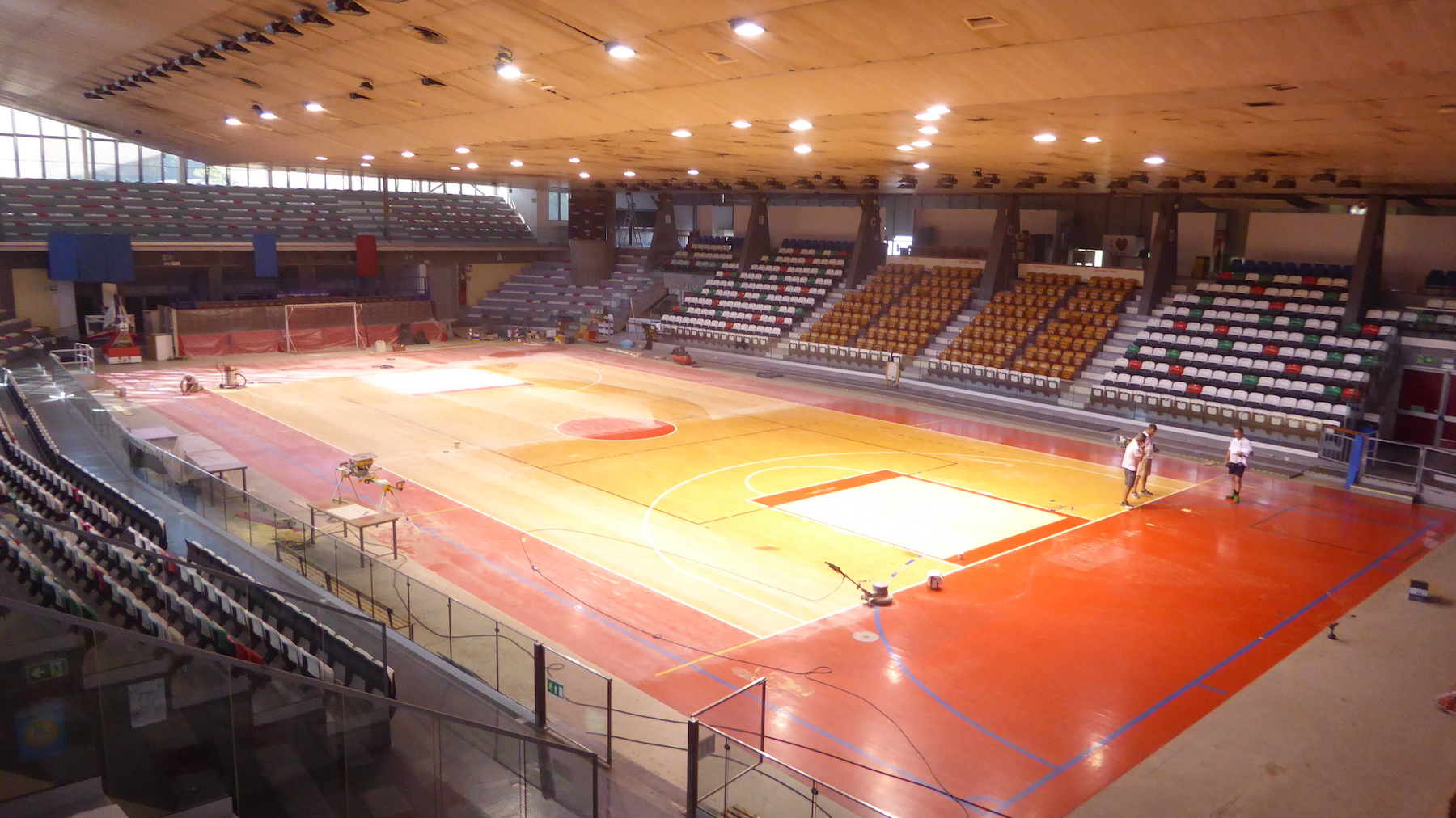 The sports facility during total maintenance