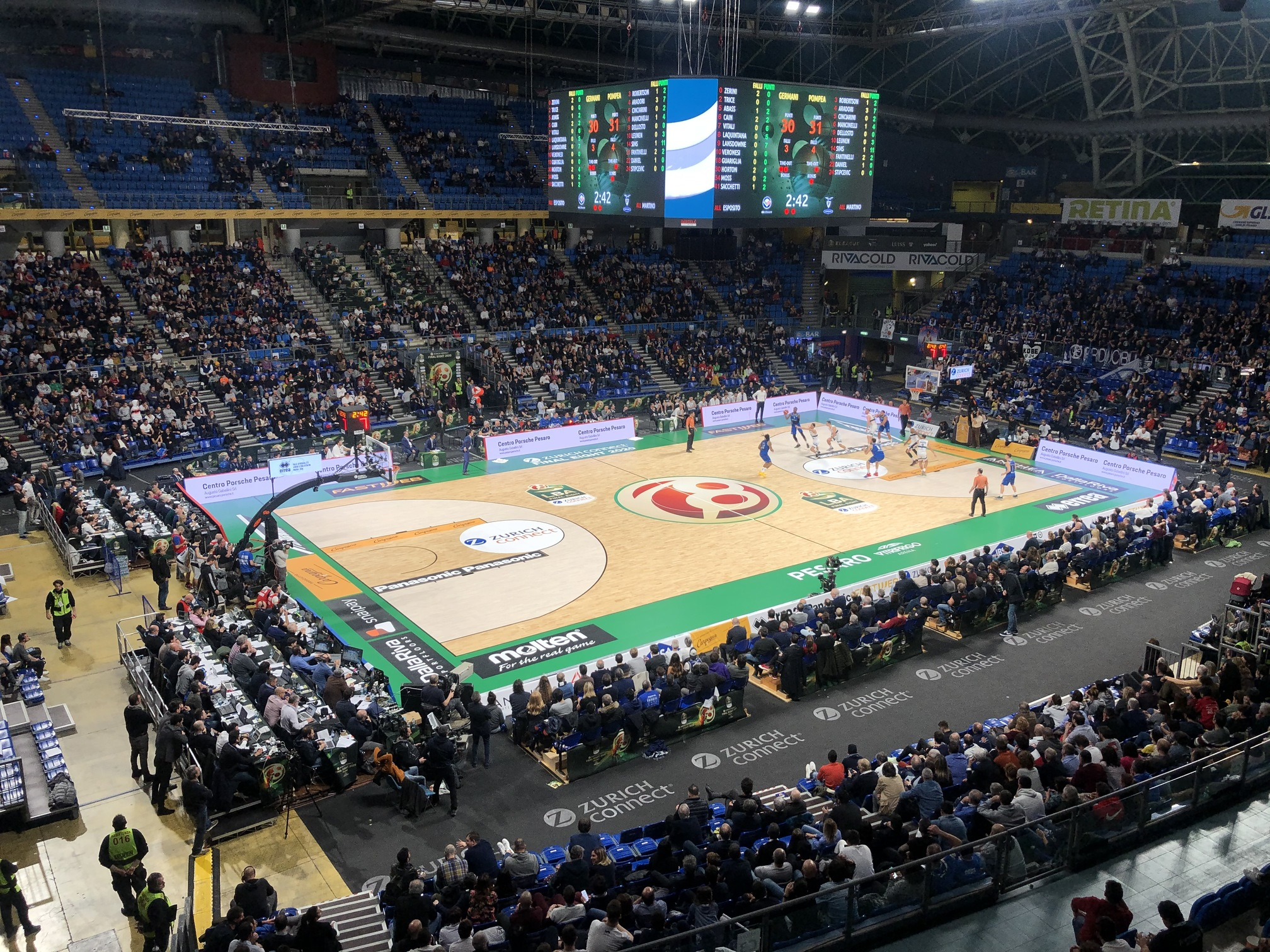 Germani Brescia and Fortitudo Bologna challenge each other on the removable Dalla Riva parquet