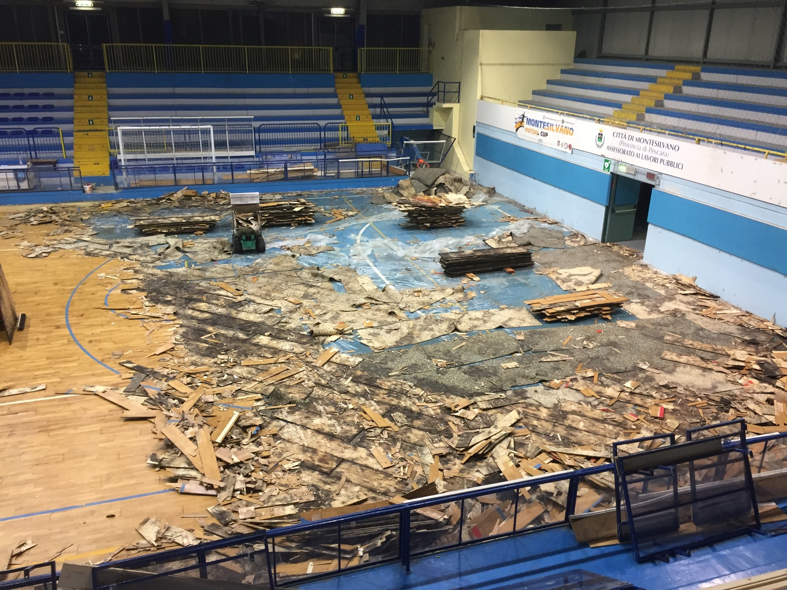 The removal of the old floor