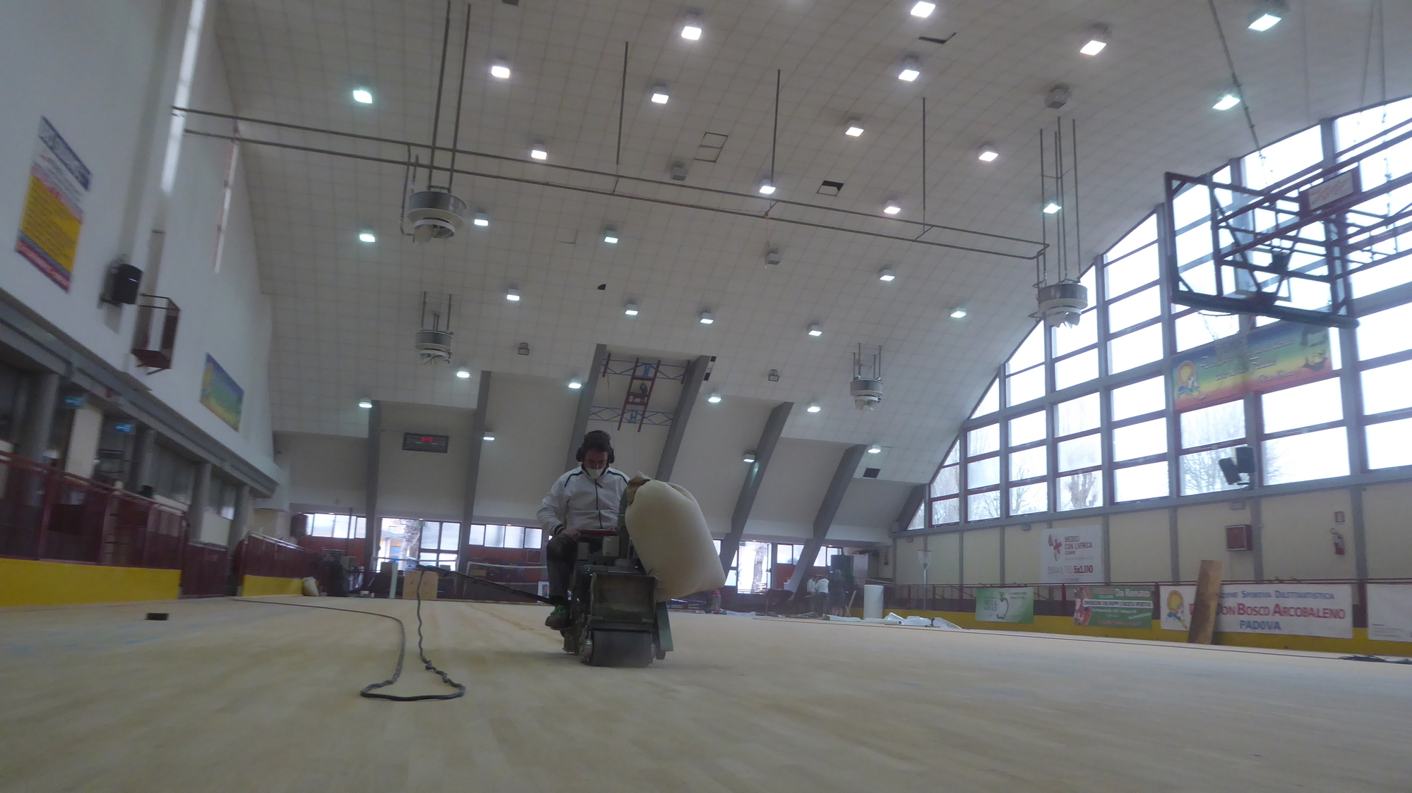 In action the sanding machine with man on board