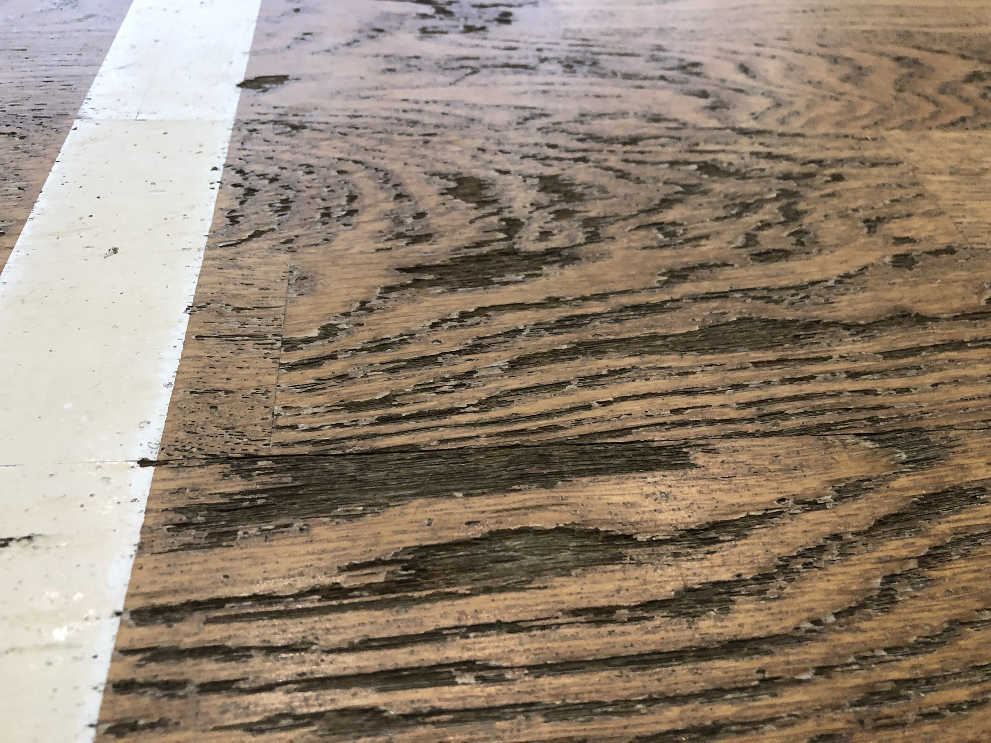 What the flooring looked like before our intervention