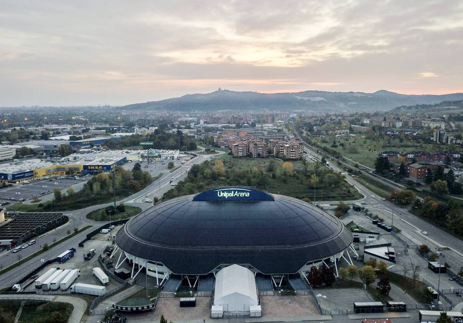 The splendid view from above of the Unipol Arena and the city of Bologna