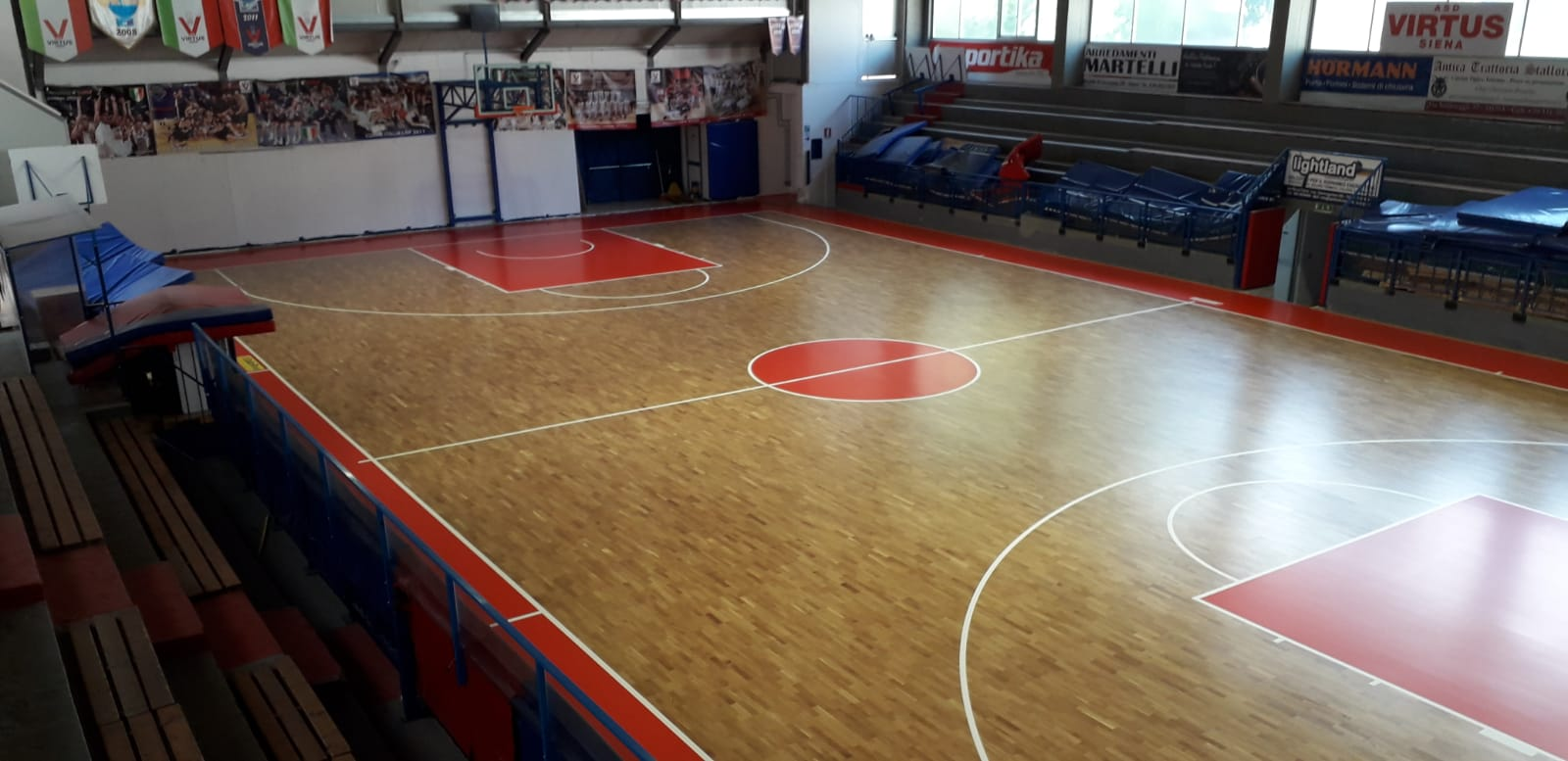 The new wooden sports flooring