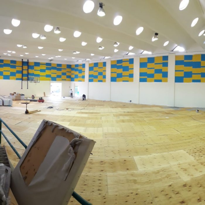 The laying of the plywood