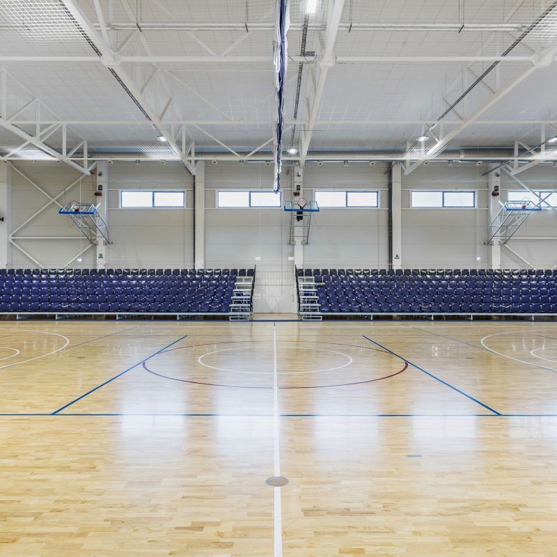 The telescopic stands in this sports hall