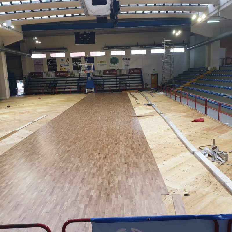 Laying the sports parquet