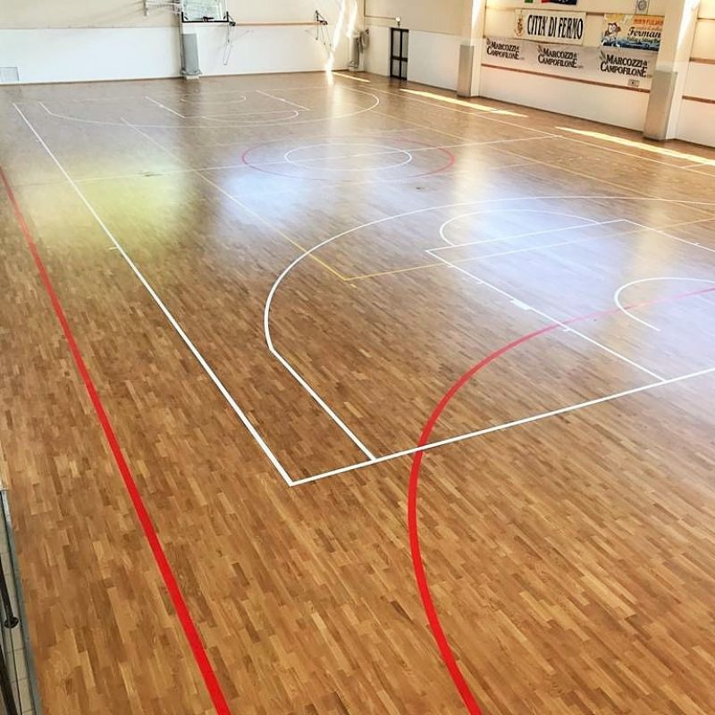 The three disciplines present in the facility (futsal, volleyball and basketball)