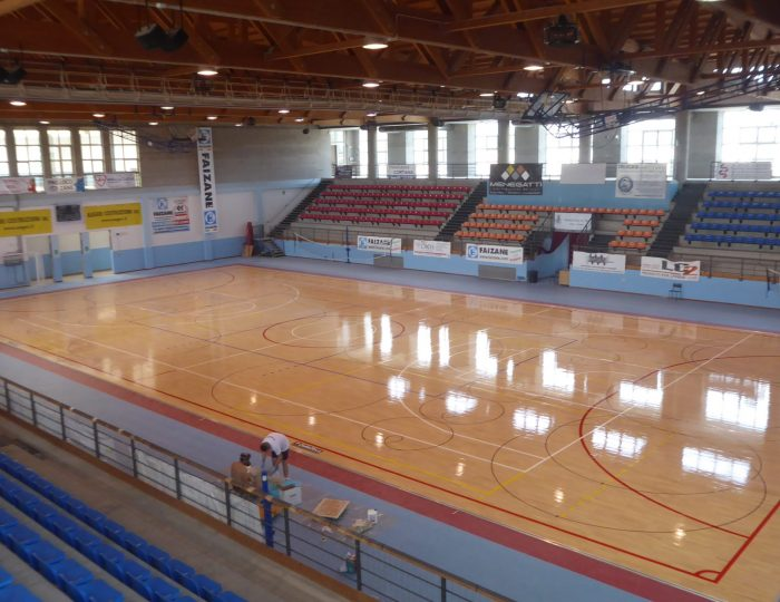 Treatment of skating sports parquet floors Dalla Riva